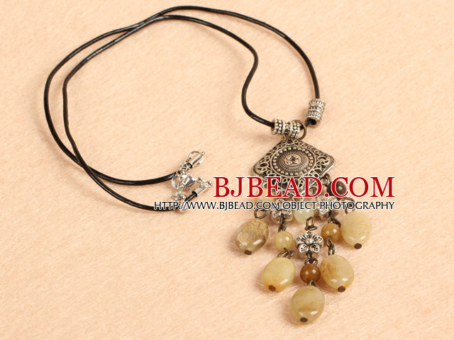Simple Retro Style Chandelier Shape Oval Three Colored Jade Tassel Pendant Necklace With Black Leather
