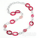 metal jewelry fashion long style pink agate necklace