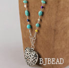 multi color pearl and turquoise beaded necklace with heart pendant