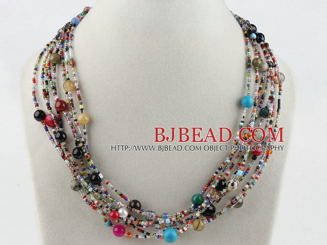 Famoso filo colorato collana gioiello di pietra con chiusura al chiaro di  SL59