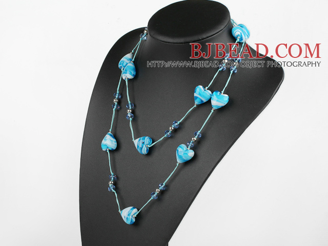 fashion jewelry crystal and colored glaze heart necklace