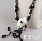 black agate and crystal shell flower necklace
