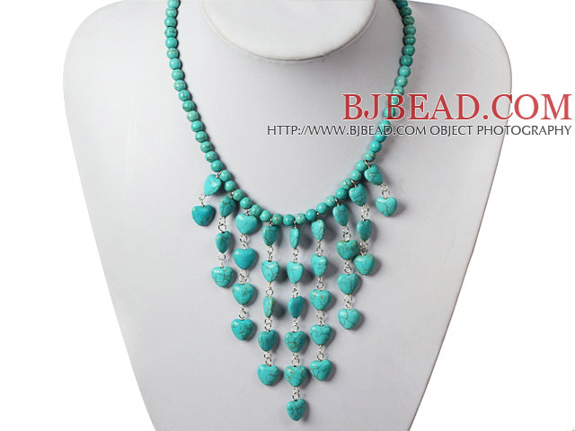 Fashion Turquoise Necklace with Heart Shape Turquoise Tassel