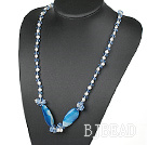 31.5 inches white pearl and blue agate crystal necklace