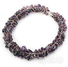 Purple Series Amethyst and Purple Crystal Necklace with Metal Chain under $ 40