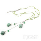 18.1 inches aventurine Y necklace pendant with extendable chain