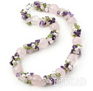 Light Pink and Purple Series Rose Quartz and Amethyst and Olivine and White Pearl Necklace under $ 40