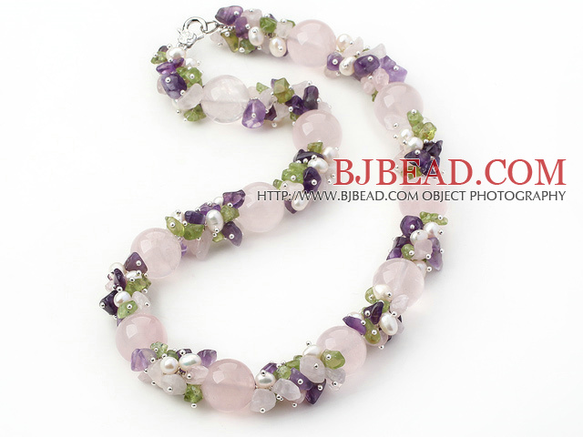 Light Pink and Purple Series Rose Quartz and Amethyst and Olivine and White Pearl Necklace