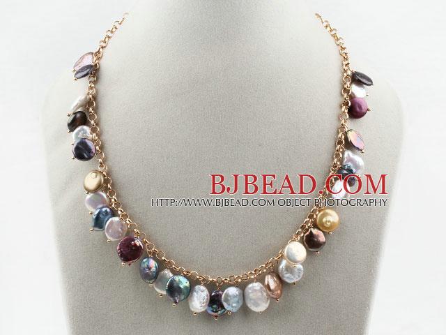 Surtido De Moneda Multicolor Collar De Perlas Con Cadena