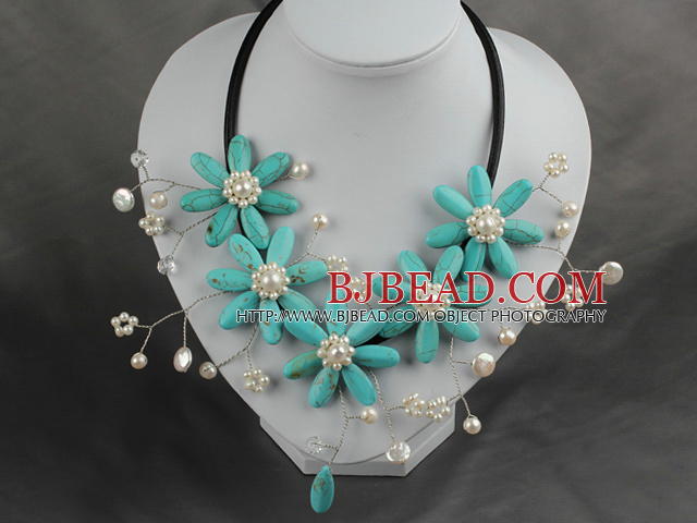 White Freshwater Pearl and Turquoise Flower Necklace with Leather Cord