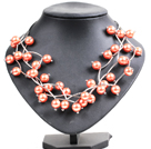 Trendy Style Multi Strand Orange Seashell Beads Twisted Necklace With Bending Alloyed Tube