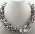 Assorted Gray Teeth Pearl Crystal and Gray Agate Twisted Necklace