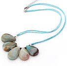 Simple Style Fan Shape Big Drop Amazon Stone Necklace with Blue Thread
