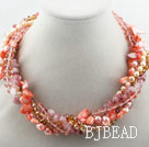 Assorted Pink Freshwater Pearl Shell and Strawberry Quartz Twisted Necklace
