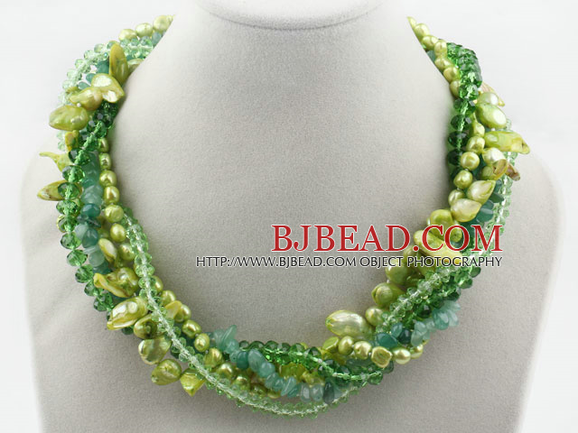 Assorted Green Teeth Shape Pearl Crystal and Aventurine Twisted Necklace