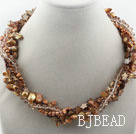 Assorted Brown Freshwater Pearl Crystal and Brown Shell Twisted Necklace