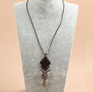 Simple Retro Style Chandelier Shape Gray Agate Clear Crystal Tassel Pendant Necklace With Black Leather