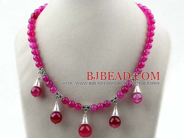 Round Rose Pink Agate Necklace with Lobster Clasp