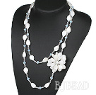 Long Style Clear Crystal and White Shell Flower Necklace