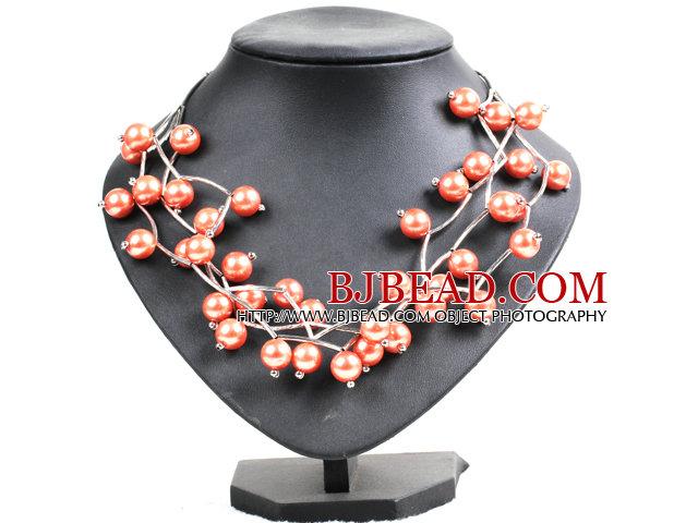 Trendy Style Multi Strand Orange Seashell Beads Twisted Necklace With Bending Alloyed Tube