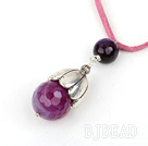 Simple Style Faceted Purple Agate Pendant Necklace