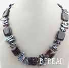 Biwa Pearl and Dragon Blood Stone Necklace with Moonlight Clasp