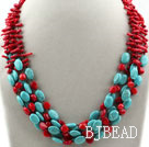Multi Strands Assorted Branch Shape Red Coral and Oval Shape Turquoise Necklace under $ 40