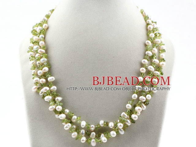 Three Strands Assorted White Freshwater Pearl and Olive Stone Necklace