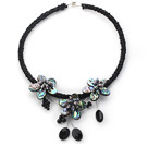 D'acqua dolce Perla Nera e Shell Abalone Flower Choker Necklace