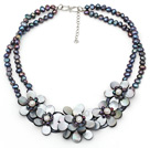 Elegant Style Black Freshwater Pearl and Black Shell Flower Necklace under $ 40