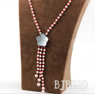 Assorted Round White Pearl and Red Coral Y Shape Tassel Necklace