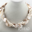 Multi Strands White Freshwater Pearl and White Shell Twisted Necklace