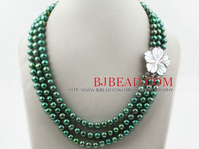 32a159f940e Three Strands 8-9mm Round Dyed Dark Green Freshwater Pearl Necklace with  White Shell Flower
