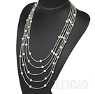 Multi Strands White Freshwater Pearl Bridal Necklace