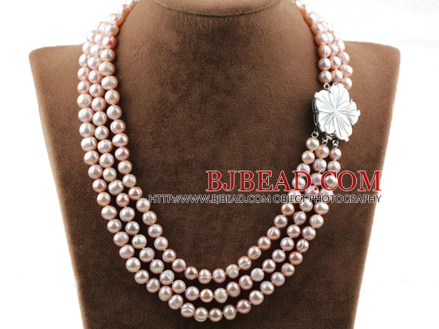 Three Strands 8-9mm Round Natural Purple Freshwater Pearl Necklace with White Shell Flower Clasp