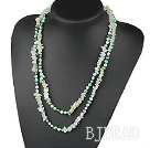 Assorted Green Freshwater Pearl and Serpentine Jade Long Style Necklace