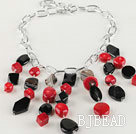 chunky styke red coral and black agate necklace with bold metal chain under $ 40