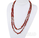 Assorted Red Freshwater Pearl and Red Jasper Long Style Necklace