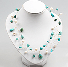 White Pearl and Turquoise Beads Crochet Wire Necklace