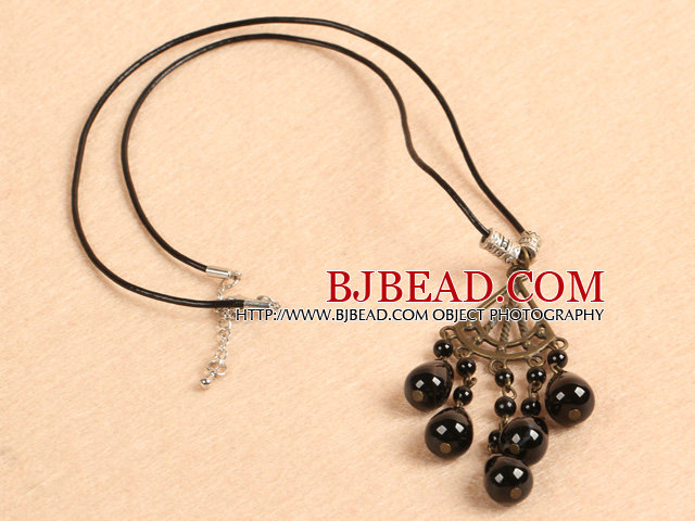 Simple Retro Style Chandelier Shape Tear Drop Black Agate Tassel Pendant Necklace With Black Leather