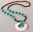 Assorted Tiger Eye and Turquoise Necklace with Big White Shell Pendant under $ 40