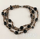 three strand black gemstone and smoky quartze necklace with magnetic clasp