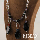 chunky style amethyst and balck agate necklace with bold metal chain