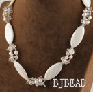 17.7 inches white pearl and shell necklace with lobster clasp under $ 40