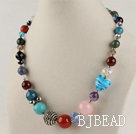 17.7 inches multi color gem stone necklace with lobster clasp