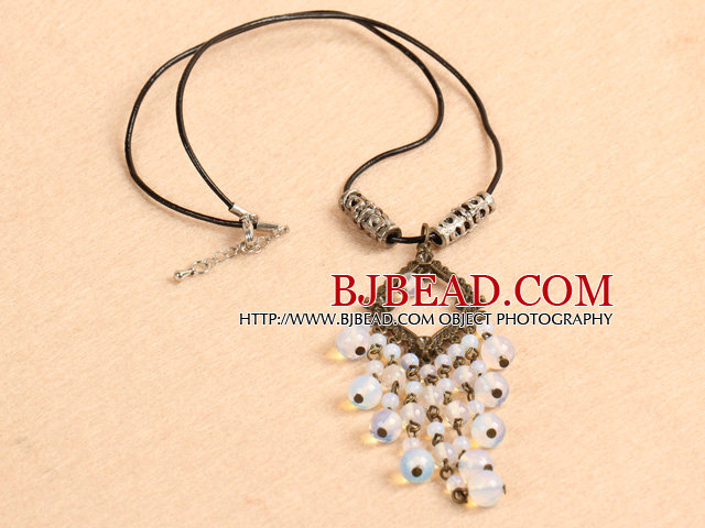 Simple Retro Style Chandelier Shape Round Opal Beads Tassel Pendant Necklace With Black Leather