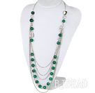 long style 35.4 inches exquisite facted green agate multi layer necklace