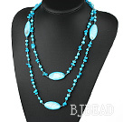 long style 47.2 inches blue pearl shell and turquoise nekclace