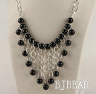 vogue jewelry 12mm faceted black agate neclace