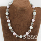 17.7 inches white and pink colored glaze nekclace